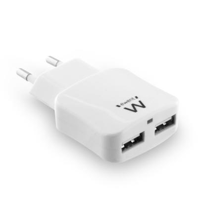 Ewent oplader: 2-Poorts Smart USB Lader, 2.4A - Wit