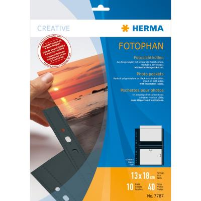 Herma showtas: Fotophan transparent photo pockets 13x18 cm landscape black 10 pcs. - Transparant