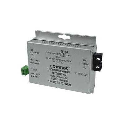 ComNet Industrially Hardened 100Mbps with PoE+, Mini Media converter