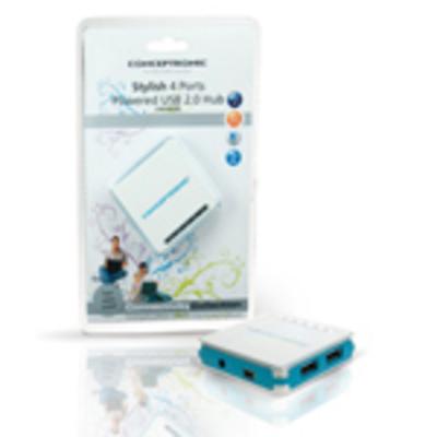 Conceptronic USB 2.0 Hub - Blauw, Wit