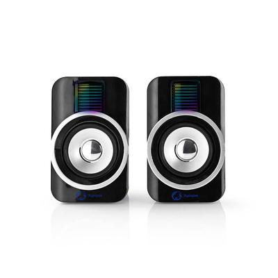 Nedis Gamings, 2.0, RGB, USB powered, 3.5mm jack, 30 W Speaker - Blauw,Zwart