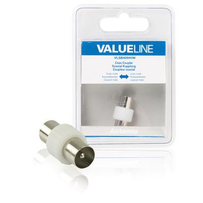 Valueline Coax koppeling, coax mannelijk - coax mannelijk, wit coaxconnector