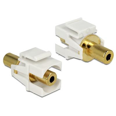 DeLOCK Keystone module Stereo jack 3.5 mm female > Stereo jack 3.5 mm female gold plated - Goud,Wit