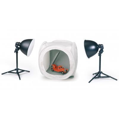 Kaiser fototechnik photo studio equipment set: Desktop Shooting Kit, two lights with Cube-Studio 20 x 20 x 20 in. (50 x .....