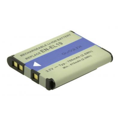 2-power batterij: Digital Camera Battery, Li-Ion, 3.7V, 600mAh, Green/Blue - Blauw, Groen