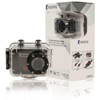 König actiesport camera: Waterdichte Full HD-actiecamera 1080p  - Zwart