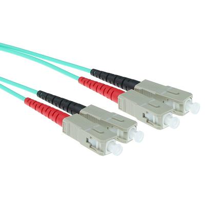 ACT 0,5 meter LSZH Multimode 50/125 OM3 glasvezel patchkabel duplex met SC connectoren Fiber optic kabel