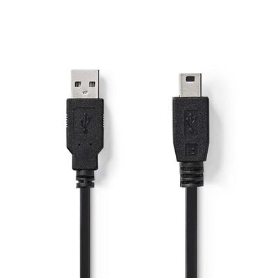 Nedis USB 2.0, A Male - Mini 5-pin Male, 2m, Black USB kabel - Zwart