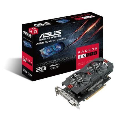 Asus videokaart: RADEON RX560-O2G RX560 PCIE3 - Zwart, Grijs, Roestvrijstaal