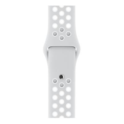 Apple : Platina/wit sportbandje van Nike (42 mm) - Platina, Wit