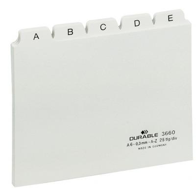 Durable Tabkaarten A-Z met bedrukte tabs A-Z A6 Indextab - Wit
