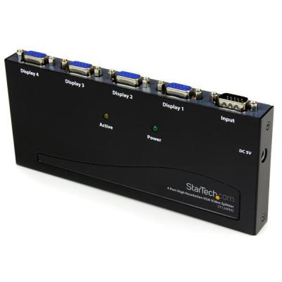 Startech.com video splitter: 4-poort Hoge Resolutie 350 MHz VGA Video Splitter - Zwart