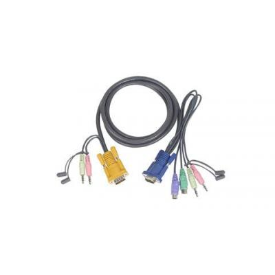 Iogear Micro-Lite™ Bonded All-in-One PS/2 KVM Cable 10ft KVM kabel - Zwart