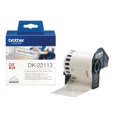Brother DK Continue Lengte Tape: 62 mm - Duurzame film - transparant (15.24m) Labelprinter tape