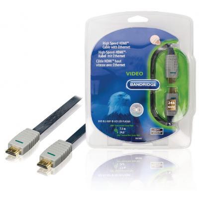 Bandridge 7.5m, HDMI, M/M, Blue/Grey HDMI kabel - Blauw, Goud