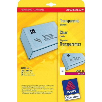 Avery Transparante Adresetiketten, Laser, 25pcs. Etiket