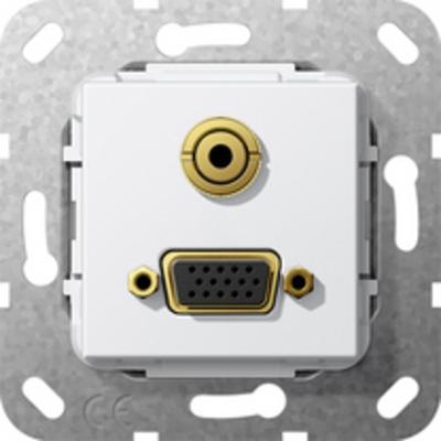 GIRA Basiselement VGA 15-polig en mini-jack 3.5 mm Verloopkabel, zuiver wit glanzend Wandcontactdoos