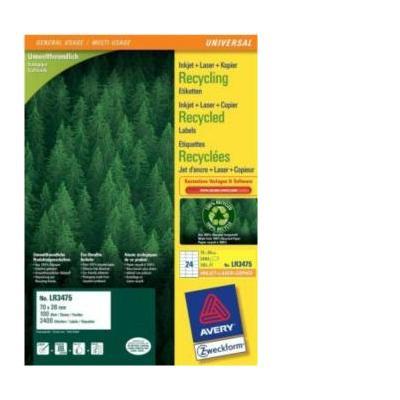 Avery Recycled universeleten, 70 x 36mm Etiket - Wit