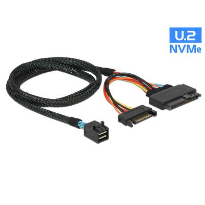 DeLOCK 0.75m, SFF-8643/U.2 SFF-8639+SATA Kabel - Zwart