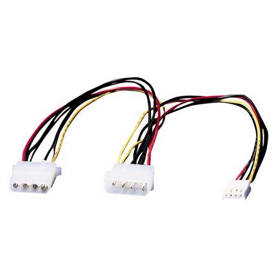 ROLINE Y-kabel 4 pol. HDD / 4 pol. HDD + 4 pol. FDD - Zwart, Rood, Wit, Geel