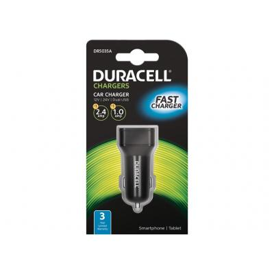 Duracell 1A+2.4A Dual USB In-Car Charger Oplader - Zwart