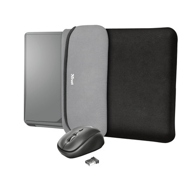 """Trust Yvo Reversible Sleeve for 15.6"""" Laptops with wireless mouse - black Laptoptas"""