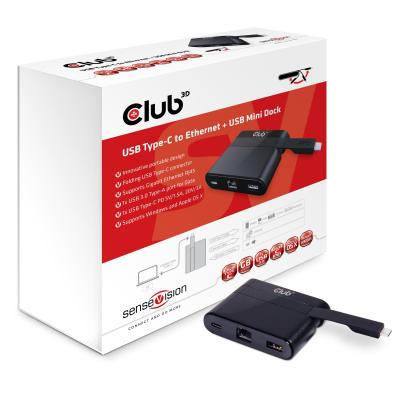 Club3d docking station: Mini Dock USB Type-C to Ethernet + USB3.0 + USB Type C for Charging - Zwart