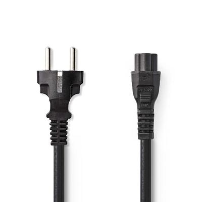 Nedis C5/Schuko, 3x 0.75mm², Ø6.5mm, PVC, 3m Electriciteitssnoer - Zwart