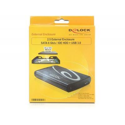 "Delock behuizing: 42494, 6.35 cm (2.5 "") SATA/SSD/IDE, max. 5.0Gbps - Zwart, Blauw"