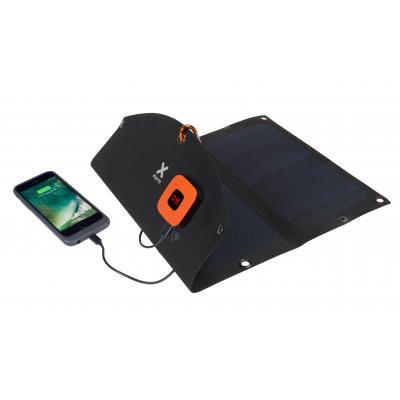Xtorm oplader: SolarBooster 14 Watt panel, 2x USB, 5V/2.1A - Zwart, Blauw