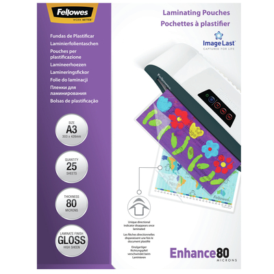 Fellowes ImageLast 80 micron lamineerhoes glanzend A3-25pk Laminatorhoes - Transparant