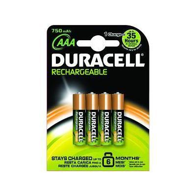 Duracell batterij: NiMH, 750mAh, AAA, 4pcs - Zwart, Oranje