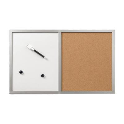 Herlitz Pinboard und magnet board, 40 x 60cm, Wood frame coloured silver Magnetisch bord - Wit