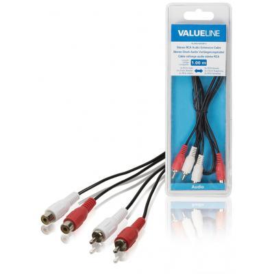 Valueline Stereo RCA audio verlengkabel 2x RCA mannelijk - 2x RCA vrouwelijk 1.00 m zwart - Zwart, Rood, Wit