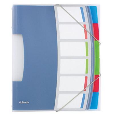Esselte schutkaart: VIVIDA Sorteermap, transparant, 6heidingsbladen - Blauw, Multi kleuren