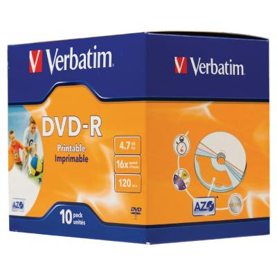 Verbatim DVD: DVD-R 4.7GB, 16x, 10 Pack, Jewelcase