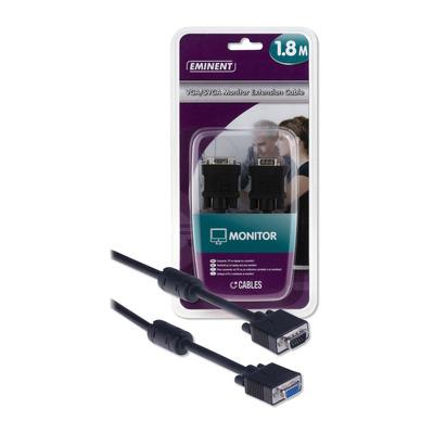 Eminent EM9810 VGA/SVGA monitorverlengkabel 1,8 meter VGA kabel  - Zwart