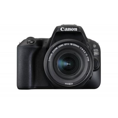 Canon digitale camera: EOS 200D + EF-S 18-55mm 4.0-5.6 IS STM - Zwart