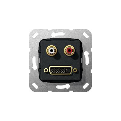 GIRA Basiselement cinch audio en DVI (24+5) Verloopkabel, zwart mat Wandcontactdoos
