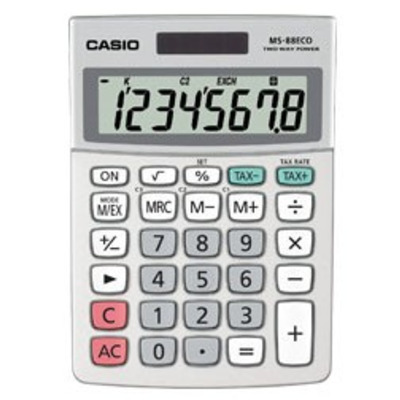 Casio calculator: MS-88ECO - Bureau rekenmachines, 8-cijferig BIG LCD, Batterij: 1 x CR2032, 120g