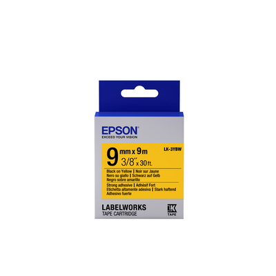 Epson Strong Adhesive Tape - LK-3YBW Strng adh Blk/Yell 9/9 Labelprinter tape