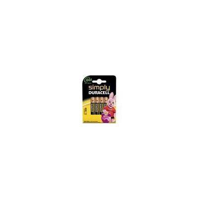 Duracell batterij: Simply AAA 4 Pack - Zwart