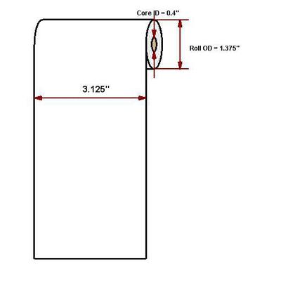 """Datamax o'neil thermal papier: Premium paper, 3.125""""' x 40'"""