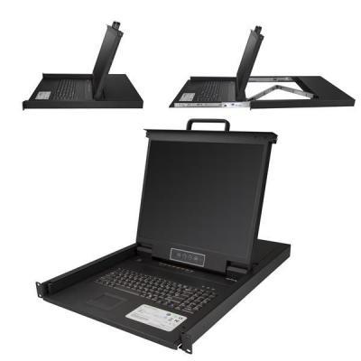 "Startech.com rack console: 8 poorts VGA rack monteerbare KVM console voor server rack VGA KVM 19"" 1U - Zwart"