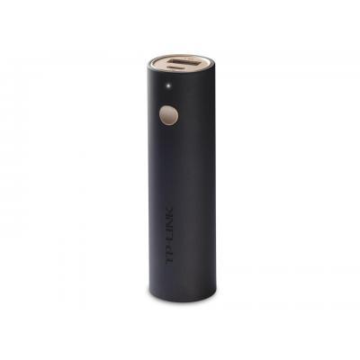 Tp-link powerbank: 3350mAh, 5V/1.5A, Micro USB/ USB 2.0, LED, 26.5x26.5x92.5 mm, 73g. - Zwart, Chocolade