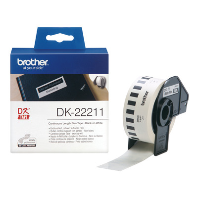 Brother DK Continue Lengte Tape: 29 mm - Duurzame film - wit (15.24m) Labelprinter tape - Zwart, Wit