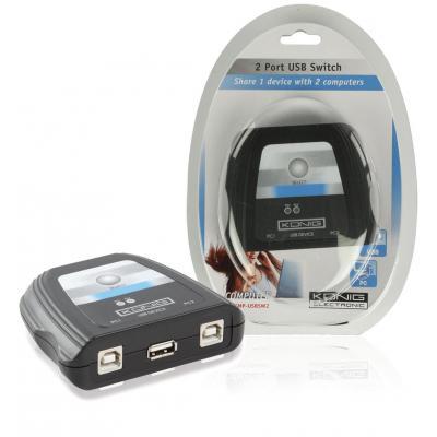König printerschakelaar: USB 2.0 Switch, USB2.0, 1x USB A - 2x USB B, Black