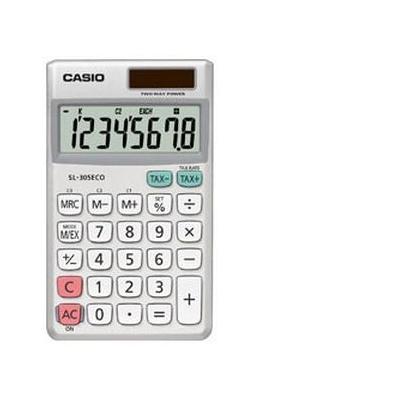Casio SL-305ECO - Zakrekenmachine, 8-cijferig BIG LCD, Batterij: 1 x CR2016, 50g Calculator - Zilver, Wit