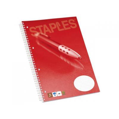 Staples schrijfblok: Collegeblok SPLS A4+ lijn 4gts 80v/pak 5