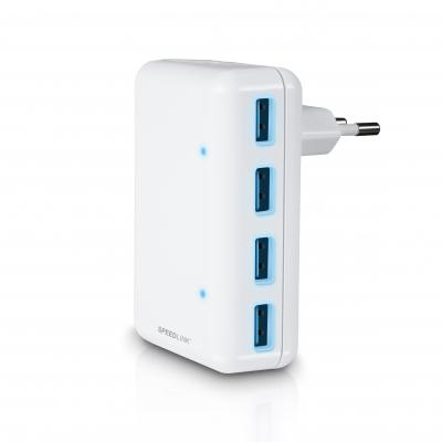 Speedlink batterij: Speedlink, QUADRAX USB Wall Charger - 4-Port (Wit)